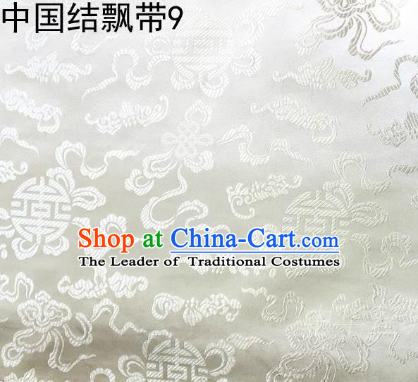 Traditional Asian Chinese Handmade Embroidery Chinese Knot Ribbons Satin White Silk Fabric, Top Grade Nanjing Brocade Tang Suit Hanfu Fabric Mattress Cover Cloth Material