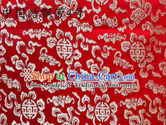 Traditional Asian Chinese Handmade Embroidery Chinese Knot Ribbons Satin Red Silk Fabric, Top Grade Nanjing Brocade Tang Suit Hanfu Fabric Cheongsam Cloth Material