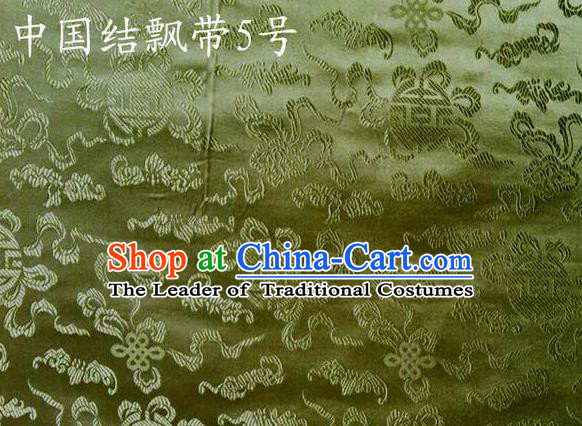 Traditional Asian Chinese Handmade Embroidery Chinese Knot Ribbons Satin Green Silk Fabric, Top Grade Nanjing Brocade Tang Suit Hanfu Fabric Cheongsam Cloth Material