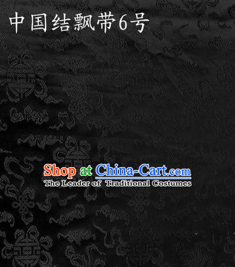 Traditional Asian Chinese Handmade Embroidery Chinese Knot Ribbons Satin Black Silk Fabric, Top Grade Nanjing Brocade Tang Suit Hanfu Fabric Cheongsam Cloth Material