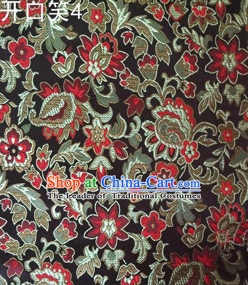 Traditional Asian Chinese Handmade Embroidery Red Flowers Satin Black Silk Fabric, Top Grade Nanjing Brocade Tang Suit Hanfu Wedding Clothing Fabric Cheongsam Cloth Material