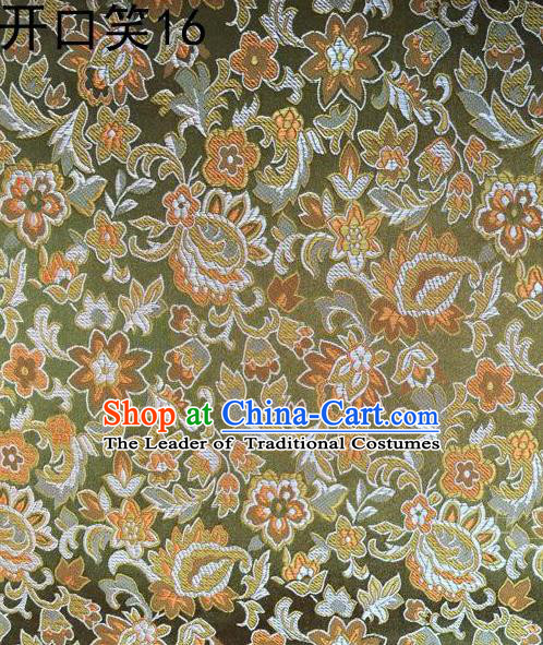 Traditional Asian Chinese Handmade Embroidery Flowers Satin Green Silk Fabric, Top Grade Nanjing Brocade Tang Suit Hanfu Wedding Clothing Fabric Cheongsam Cloth Material