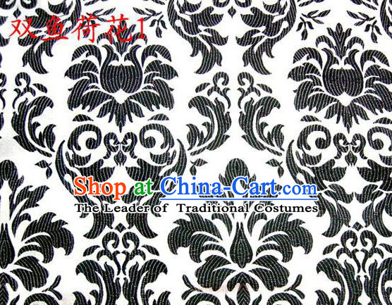 Traditional Asian Chinese Handmade Embroidery Black Lotus Flowers Fishes Satin White Silk Fabric, Top Grade Nanjing Brocade Tang Suit Hanfu Wedding Tibetan Clothing Fabric Cheongsam Cloth Material