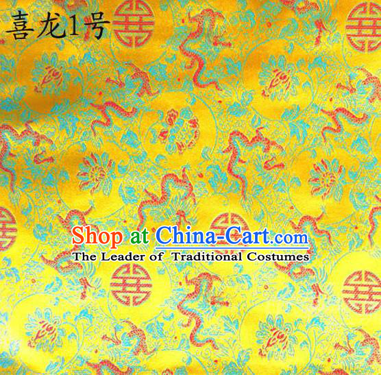 Traditional Asian Chinese Handmade Embroidery Happiness Dragon Satin Golden Silk Fabric, Top Grade Nanjing Brocade Tang Suit Hanfu Tibetan Clothing Fabric Cheongsam Cloth Material