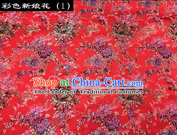 Traditional Asian Chinese Handmade Embroidery Butterfly Peony Satin Red Silk Fabric, Top Grade Nanjing Brocade Tang Suit Hanfu Clothing Fabric Cheongsam Cloth Material