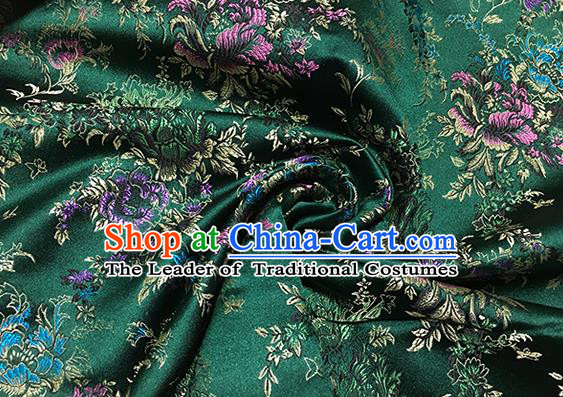 Traditional Asian Chinese Handmade Embroidery Butterfly Peony Satin Green Silk Fabric, Top Grade Nanjing Brocade Tang Suit Hanfu Clothing Fabric Cheongsam Cloth Material