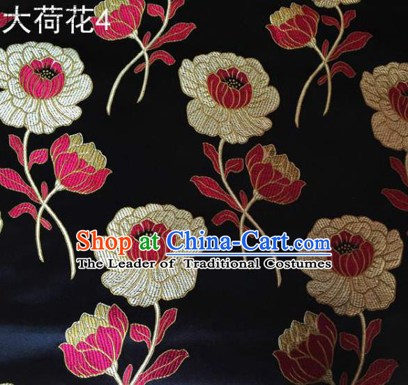 Traditional Asian Chinese Handmade Embroidery Lotus Satin Black Silk Fabric, Top Grade Nanjing Brocade Tang Suit Hanfu Clothing Fabric Cheongsam Cloth Material