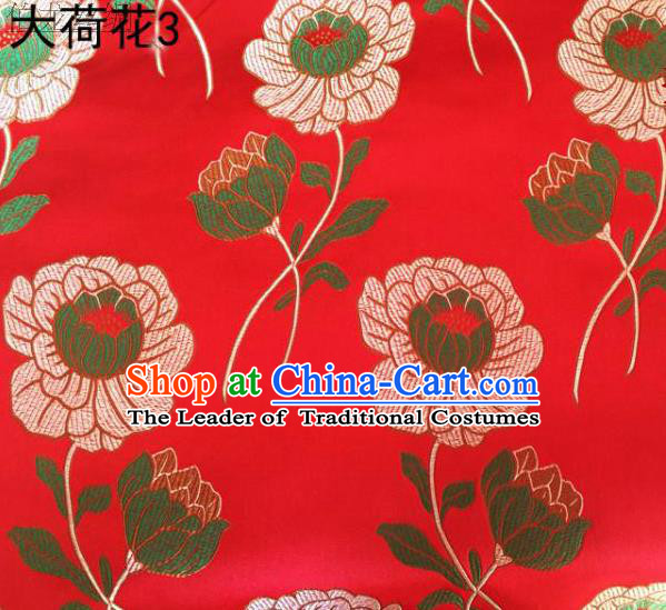 Traditional Asian Chinese Handmade Embroidery Lotus Satin Red Silk Fabric, Top Grade Nanjing Brocade Tang Suit Hanfu Clothing Fabric Cheongsam Cloth Material