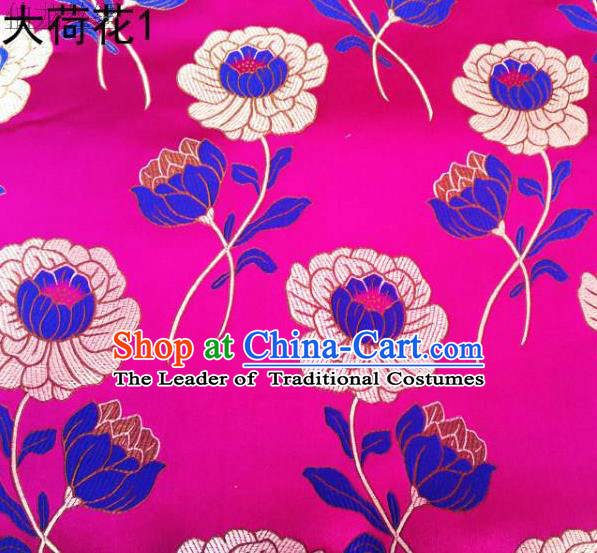 Traditional Asian Chinese Handmade Embroidery Lotus Satin Rosy Silk Fabric, Top Grade Nanjing Brocade Tang Suit Hanfu Clothing Fabric Cheongsam Cloth Material