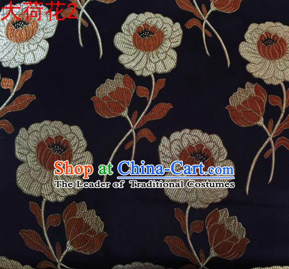 Traditional Asian Chinese Handmade Embroidery Brown Lotus Satin Silk Fabric, Top Grade Nanjing Brocade Tang Suit Hanfu Clothing Fabric Cheongsam Cloth Material
