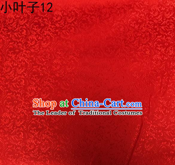 Traditional Asian Chinese Handmade Embroidery Wheat Leaf Satin Silk Fabric, Top Grade Nanjing Red Brocade Tang Suit Hanfu Clothing Fabric Cheongsam Cloth Material