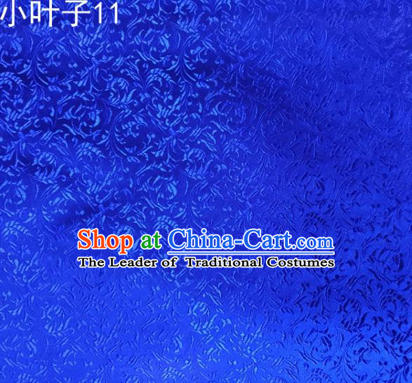Traditional Asian Chinese Handmade Embroidery Wheat Leaf Satin Silk Fabric, Top Grade Nanjing Blue Brocade Tang Suit Hanfu Clothing Fabric Cheongsam Cloth Material