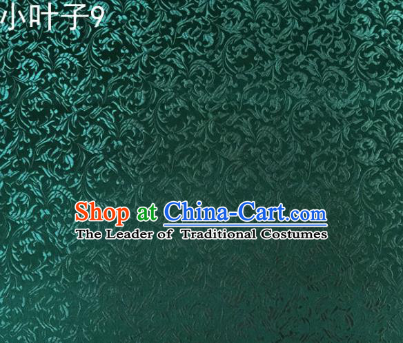 Traditional Asian Chinese Handmade Embroidery Wheat Leaf Satin Silk Fabric, Top Grade Nanjing Green Brocade Tang Suit Hanfu Clothing Fabric Cheongsam Cloth Material