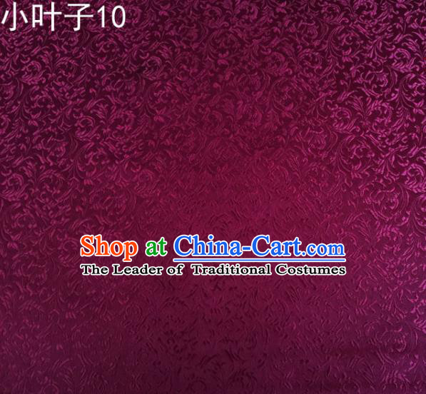 Traditional Asian Chinese Handmade Embroidery Wheat Leaf Satin Silk Fabric, Top Grade Nanjing Purple Brocade Tang Suit Hanfu Clothing Fabric Cheongsam Cloth Material