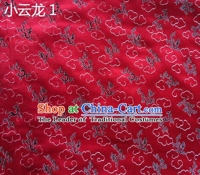 Traditional Asian Chinese Handmade Embroidery Cloud Dragon Satin Red Silk Fabric, Top Grade Nanjing Brocade Tang Suit Hanfu Clothing Fabric Cheongsam Cloth Material