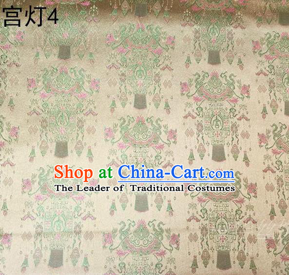 Traditional Asian Chinese Handmade Embroidery Palace Lantern Satin Golden Silk Fabric, Top Grade Nanjing Brocade Tang Suit Hanfu Clothing Fabric Cheongsam Cloth Material