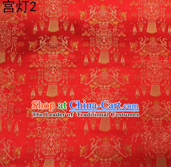 Traditional Asian Chinese Handmade Embroidery Palace Lantern Satin Red Silk Fabric, Top Grade Nanjing Brocade Tang Suit Hanfu Clothing Fabric Cheongsam Cloth Material
