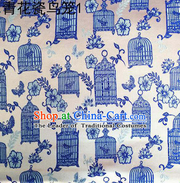 Traditional Asian Chinese Handmade Embroidery Blue Birdcage Satin White Silk Fabric, Top Grade Nanjing Brocade Tang Suit Hanfu Clothing Fabric Cheongsam Cloth Material