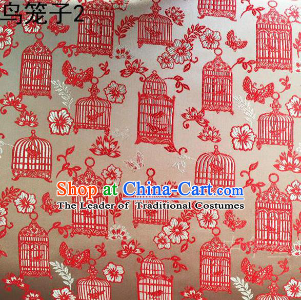Traditional Asian Chinese Handmade Embroidery Red Birdcage Satin Silk Fabric, Top Grade Nanjing Brocade Tang Suit Hanfu Clothing Fabric Cheongsam Cloth Material