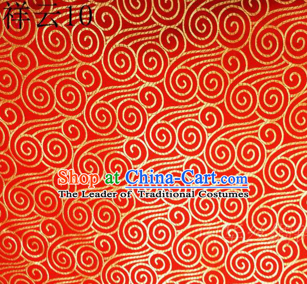 Traditional Asian Chinese Handmade Embroidery Auspicious Clouds Satin Red Silk Fabric, Top Grade Nanjing Brocade Tang Suit Hanfu Clothing Fabric Cheongsam Cloth Material