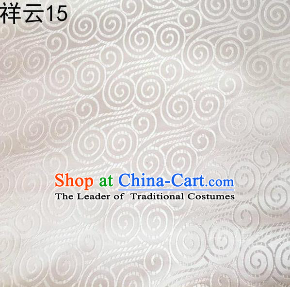 Traditional Asian Chinese Handmade Embroidery Auspicious Clouds Satin White Silk Fabric, Top Grade Nanjing Brocade Tang Suit Hanfu Clothing Fabric Cheongsam Cloth Material