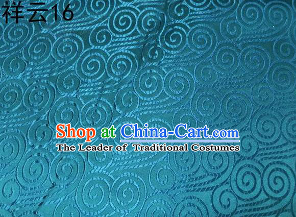 Traditional Asian Chinese Handmade Embroidery Auspicious Clouds Satin Blue Silk Fabric, Top Grade Nanjing Brocade Tang Suit Hanfu Clothing Fabric Cheongsam Cloth Material