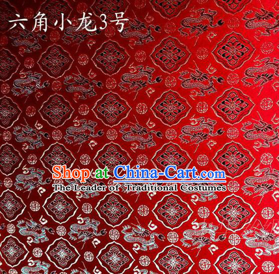 Traditional Asian Chinese Handmade Embroidery Dragons Red Satin Silk Fabric, Top Grade Nanjing Brocade Tang Suit Hanfu Clothing Fabric Cheongsam Cloth Material