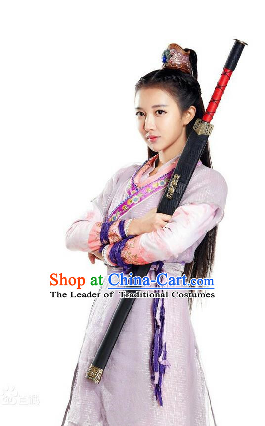 Asian Chinese Traditional Ming Dynasty Chivalrous Woman Costume and Headpiece Complete Set, China Ancient Elegant Hanfu Clothing Swordswoman Embroidered Dress