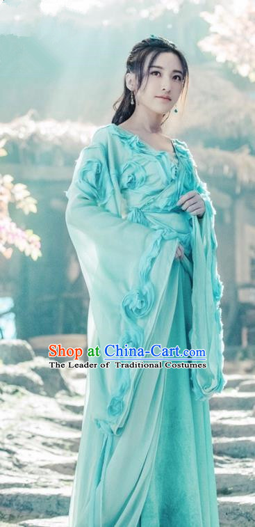 Asian Chinese Traditional Ancient Fairy Princess Dance Costume and Headpiece Complete Set, China Ming Dynasty Elegant Hanfu Clothing Peri Palace Lady Dress for Women