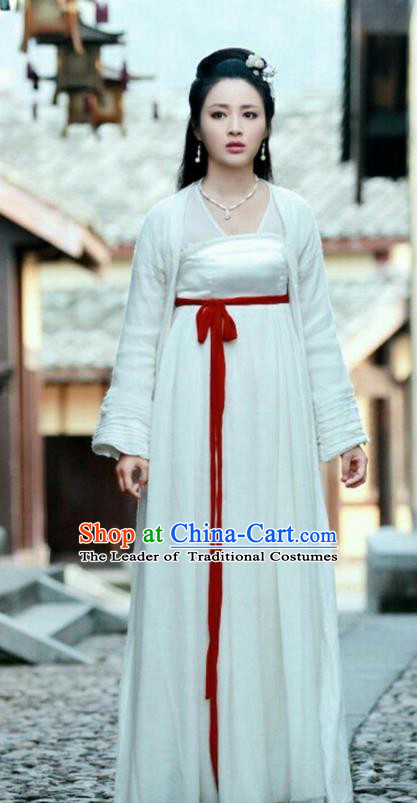 Asian Chinese Traditional Tang Dynasty Princess Costume and Headpiece Complete Set, China Elegant Hanfu Fairy Young Lady Embroidered Dress for Women