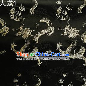 Traditional Asian Chinese Handmade Embroidery Dragons Satin Tang Suit Black Silk Fabric, Top Grade Nanjing Brocade Ancient Costume Hanfu Clothing Fabric Cheongsam Cloth Material