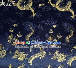 Traditional Asian Chinese Handmade Embroidery Dragons Satin Tang Suit Navy Silk Fabric, Top Grade Nanjing Brocade Ancient Costume Hanfu Clothing Fabric Cheongsam Cloth Material