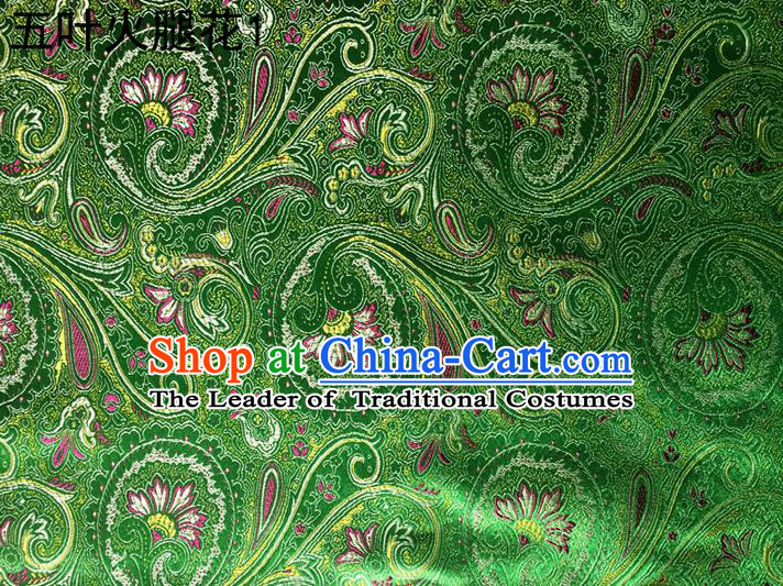 Traditional Asian Chinese Handmade Printing Flowers Satin Tang Suit Green Silk Fabric, Top Grade Nanjing Brocade Ancient Costume Hanfu Clothing Fabric Cheongsam Cloth Material