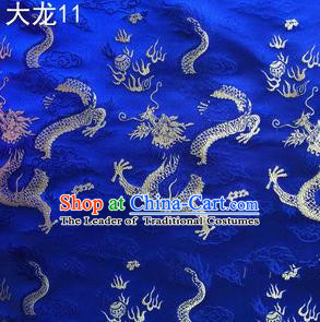 Traditional Asian Chinese Handmade Embroidery Dragons Satin Tang Suit Royalblue Silk Fabric, Top Grade Nanjing Brocade Ancient Costume Hanfu Clothing Fabric Cheongsam Cloth Material