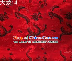 Traditional Asian Chinese Handmade Embroidery Dragons Satin Tang Suit Red Silk Fabric, Top Grade Nanjing Brocade Ancient Costume Hanfu Clothing Fabric Cheongsam Cloth Material