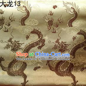 Traditional Asian Chinese Handmade Embroidery Dragons Satin Tang Suit Golden Silk Fabric, Top Grade Nanjing Brocade Ancient Costume Hanfu Clothing Fabric Cheongsam Cloth Material