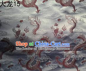 Traditional Asian Chinese Handmade Embroidery Dragons Satin Tang Suit Grey Silk Fabric, Top Grade Nanjing Brocade Ancient Costume Hanfu Clothing Fabric Cheongsam Cloth Material