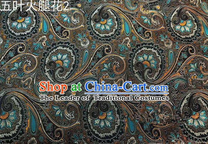 Traditional Asian Chinese Handmade Printing Flowers Satin Tang Suit Black Silk Fabric, Top Grade Nanjing Brocade Ancient Costume Hanfu Clothing Fabric Cheongsam Cloth Material