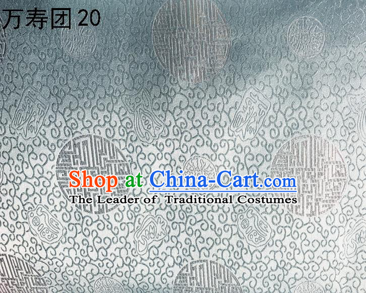 Traditional Asian Chinese Handmade Embroidery Manju Pattern Satin Tang Suit Grey Silk Fabric, Top Grade Nanjing Brocade Ancient Costume Hanfu Clothing Fabric Cheongsam Cloth Material
