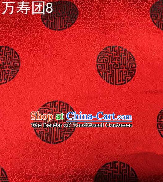 Traditional Asian Chinese Handmade Embroidery Manju Pattern Satin Tang Suit Red Silk Fabric, Top Grade Nanjing Brocade Ancient Costume Hanfu Clothing Fabric Cheongsam Cloth Material