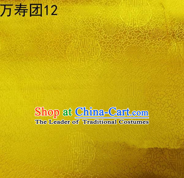 Traditional Asian Chinese Handmade Embroidery Manju Pattern Satin Tang Suit Bright Yellow Silk Fabric, Top Grade Nanjing Brocade Ancient Costume Hanfu Clothing Fabric Cheongsam Cloth Material