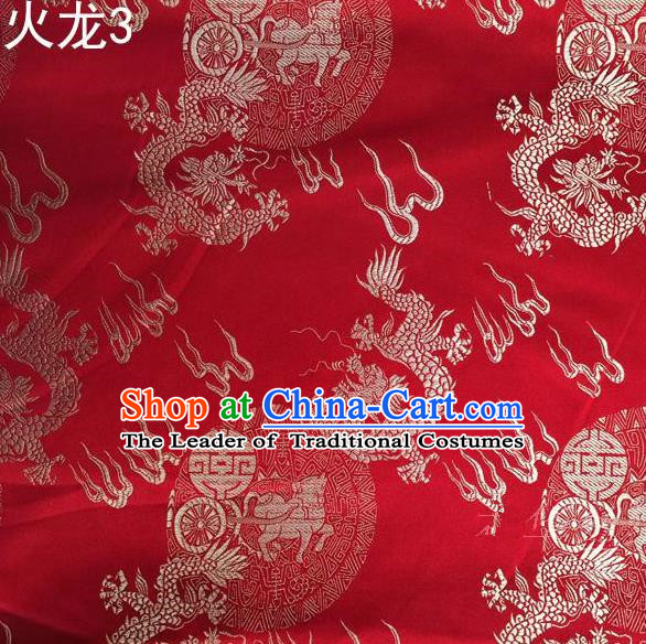 Traditional Asian Chinese Handmade Embroidery Fire Dragons Satin Tang Suit Red Silk Fabric, Top Grade Nanjing Brocade Ancient Costume Hanfu Clothing Fabric Cheongsam Cloth Material