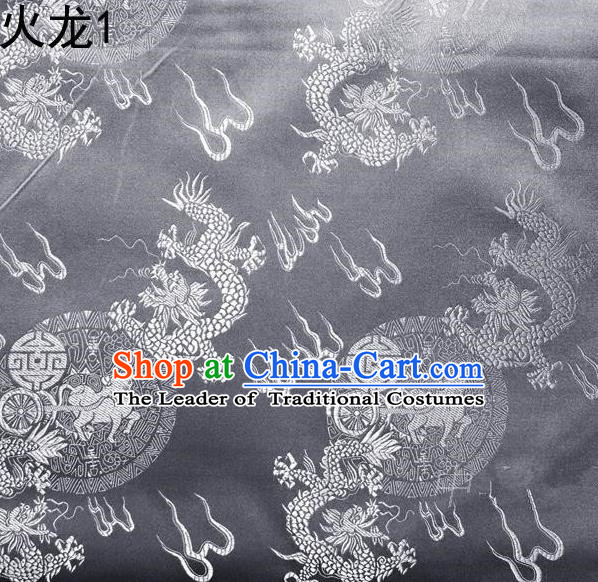 Traditional Asian Chinese Handmade Embroidery Fire Dragons Satin Tang Suit Grey Silk Fabric, Top Grade Nanjing Brocade Ancient Costume Hanfu Clothing Fabric Cheongsam Cloth Material