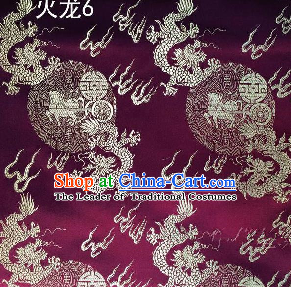 Traditional Asian Chinese Handmade Embroidery Fire Dragons Satin Tang Suit Purple Silk Fabric, Top Grade Nanjing Brocade Ancient Costume Hanfu Clothing Fabric Cheongsam Cloth Material