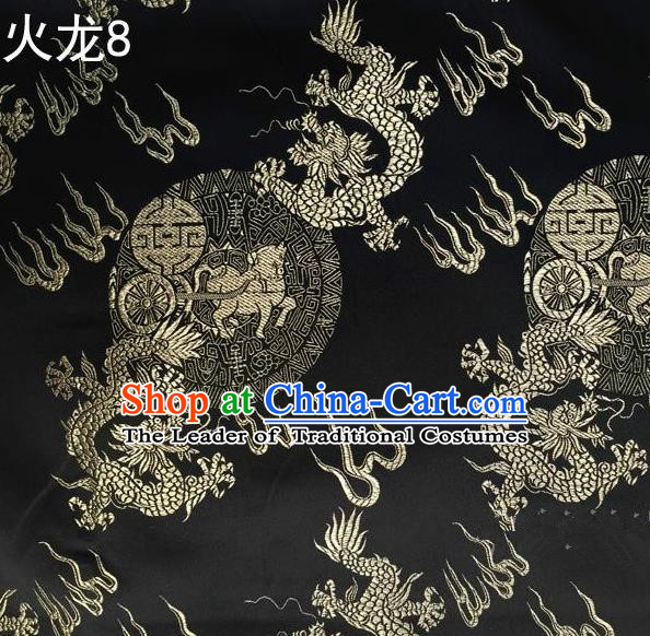 Traditional Asian Chinese Handmade Embroidery Fire Dragons Satin Tang Suit Black Silk Fabric, Top Grade Nanjing Brocade Ancient Costume Hanfu Clothing Fabric Cheongsam Cloth Material