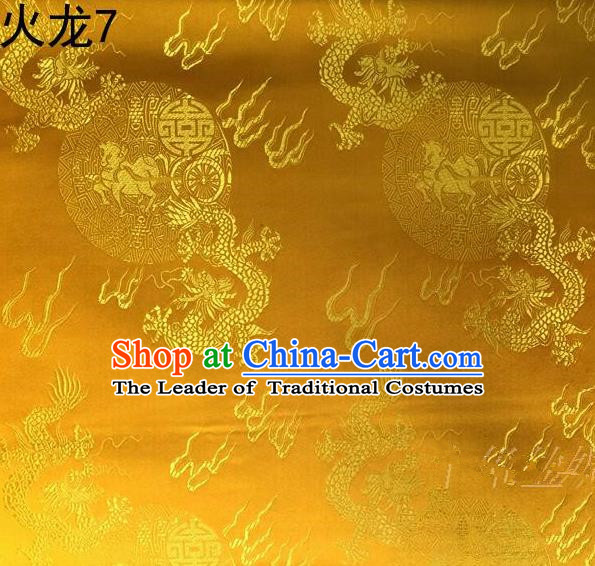 Traditional Asian Chinese Handmade Embroidery Fire Dragons Satin Tang Suit Golden Silk Fabric, Top Grade Nanjing Brocade Ancient Costume Hanfu Clothing Fabric Cheongsam Cloth Material