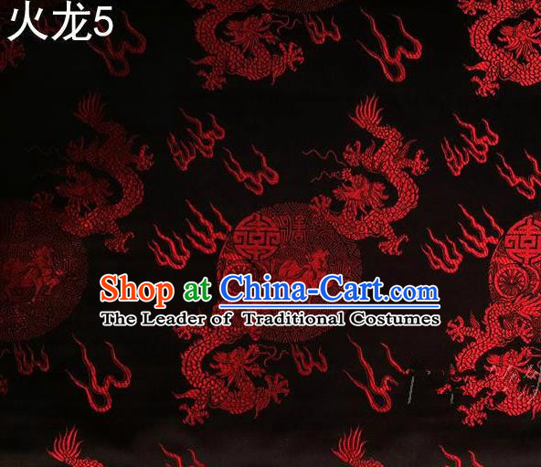 Traditional Asian Chinese Handmade Embroidery Red Fire Dragons Satin Tang Suit Black Silk Fabric, Top Grade Nanjing Brocade Ancient Costume Hanfu Clothing Fabric Cheongsam Cloth Material