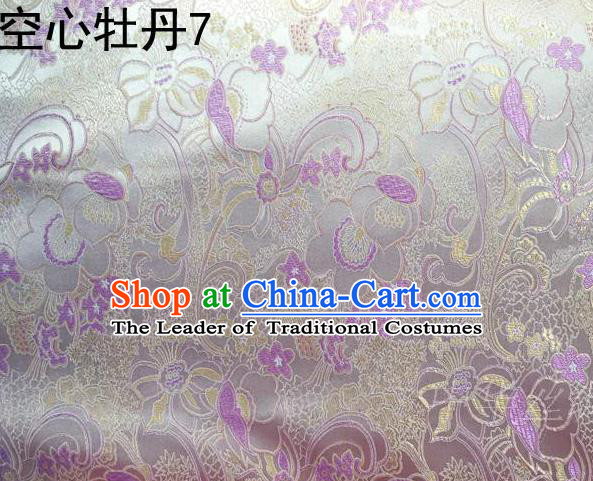 Traditional Asian Chinese Handmade Embroidery Peony Flowers Satin Tang Suit White Silk Fabric, Top Grade Nanjing Brocade Ancient Costume Hanfu Clothing Fabric Cheongsam Cloth Material