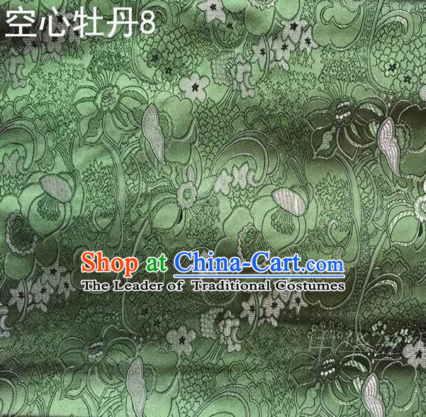 Traditional Asian Chinese Handmade Embroidery Peony Flowers Satin Tang Suit Green Silk Fabric, Top Grade Nanjing Brocade Ancient Costume Hanfu Clothing Fabric Cheongsam Cloth Material