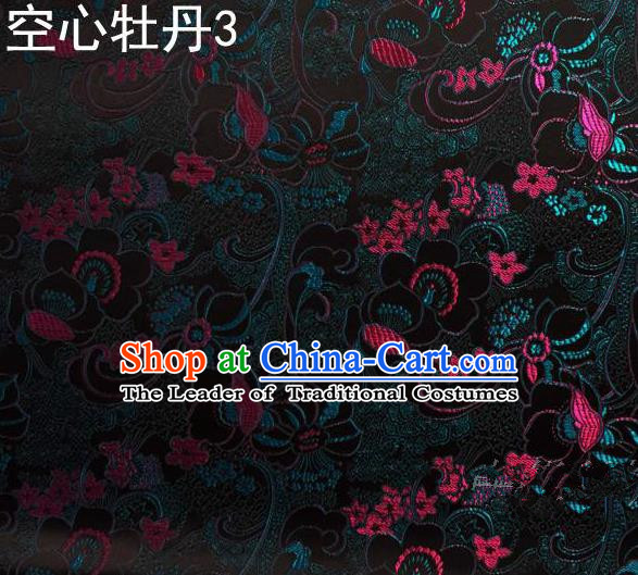 Traditional Asian Chinese Handmade Embroidery Peony Flowers Satin Tang Suit Black Silk Fabric, Top Grade Nanjing Brocade Ancient Costume Hanfu Clothing Fabric Cheongsam Cloth Material